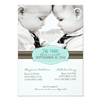 Elegant Twins Birth Announcement: Aqua Blue Card