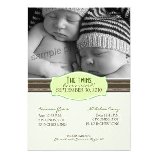 Elegant Twins Birth Announcement Lime Green