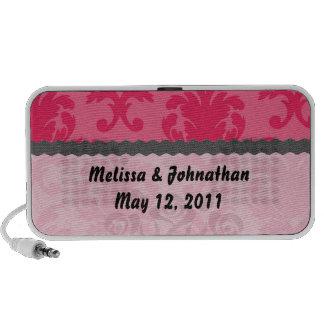 elegant two tone pink damask wedding keepsake mini speaker