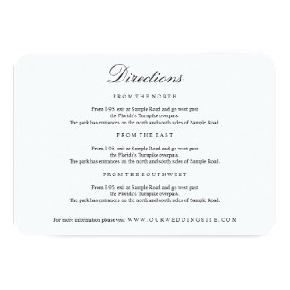 Elegant Type Black & White Directions Insert Card