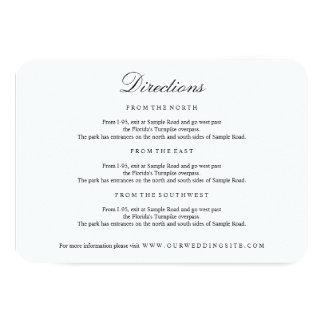 Elegant Type Black & White Directions Insert Card 9 Cm X 13 Cm Invitation Card