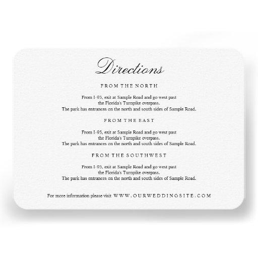Elegant Type Black & White Directions Insert Card Invites