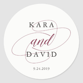 Elegant Typgraphy | Marsala Wedding Classic Round Sticker