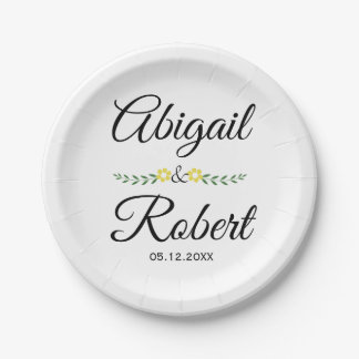 Elegant typography and yellow flowers wedding paper plate