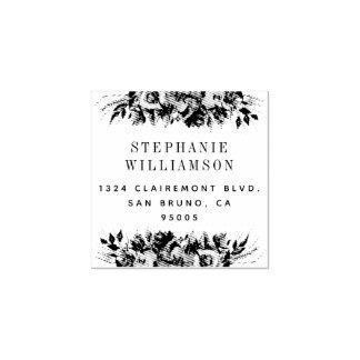 Elegant Typography Floral Return Address Rubber Stamp