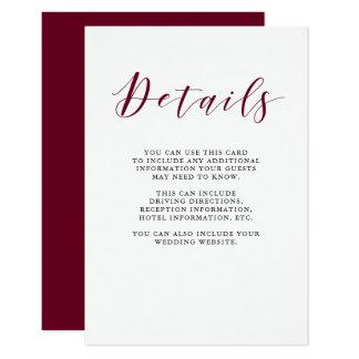 Elegant Typography   Marsala Guest Details Card