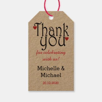 Elegant Typography  Wedding Thank You Gift Tags