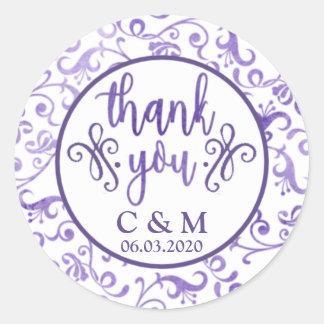 Elegant Ultra Violet Flourishes Wedding Thank You Classic Round Sticker