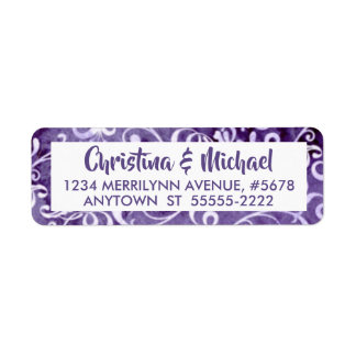 Elegant Ultra Violet Purple Watercolor Flourishes Return Address Label