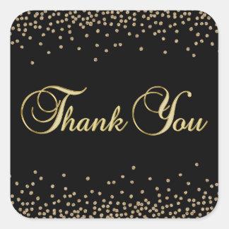 Elegant Unique Black Gold Confetti Thank You Square Sticker