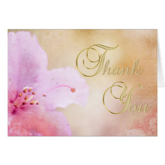 Elegant Unique Floral Pink Azalea Thank You Blank Card