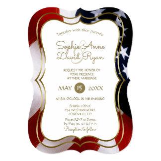 Elegant Unique USA Flag Gold Wedding Invite