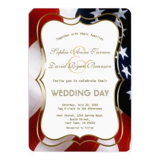 Elegant USA Flag Gold Wedding Custom Invite