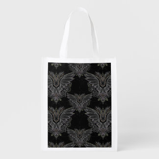 Elegant vampire bat Halloween reusable tote