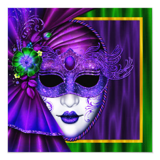 Elegant Venetian Mask Mardi Gras Wedding 13 Cm X 13 Cm Square Invitation Card