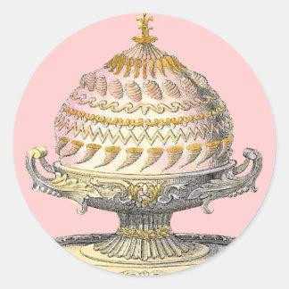 Elegant Victorian Cake Baker's Cornucopia Gateau Classic Round Sticker