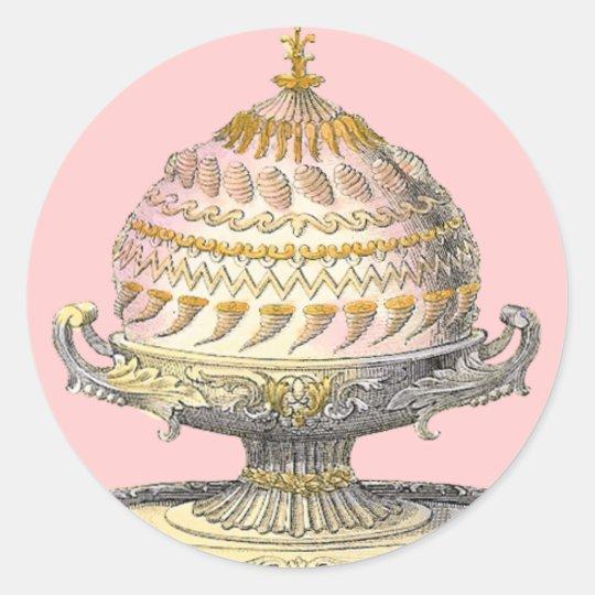 Elegant Victorian Cake Baker's Cornucopia Gateau Round Sticker