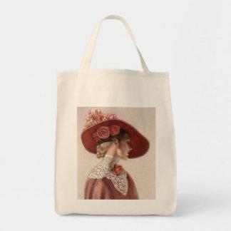 Elegant Victorian Lady Fine Art Vintage Rose Hat Grocery Tote Bag