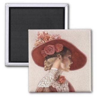 Elegant Victorian Lady Fine Art Vintage Rose Hat Square Magnet