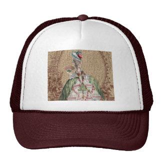 Elegant victorian lady on burlap background cap