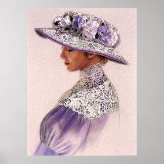 Elegant Victorian Lavender Lady decor art poster