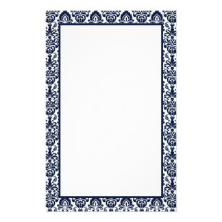 Elegant Victorian Navy Lace Damask Pattern Border Stationery