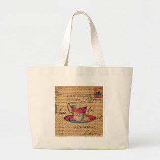 elegant victorian pink teacup on burlap background canvas bags