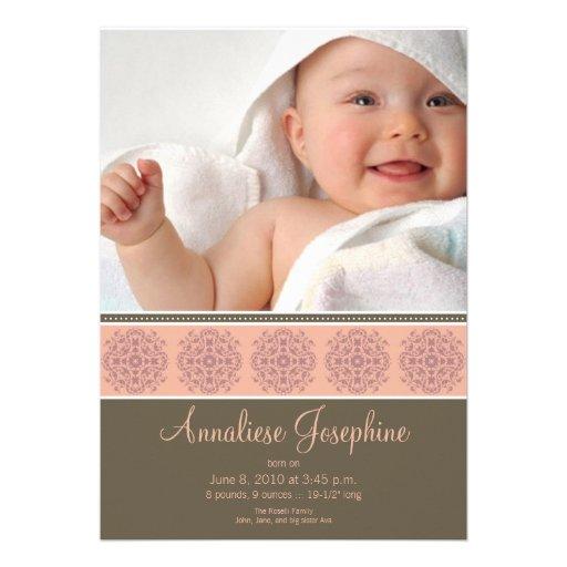 Elegant Victorian Stamp Birth Announcement: pink