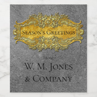 Elegant Victorian Style Pewter and Gold Your Text Wine Label