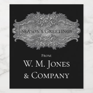 Elegant Victorian Style Pewter Your Text Wine Label