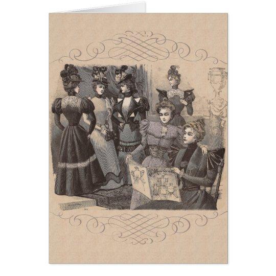 Elegant Victorian Women Reading Fashion Magazines Card