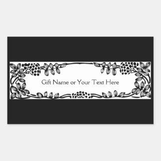 Elegant Vine Border Gift Bag or All Occasion Black Rectangular Sticker