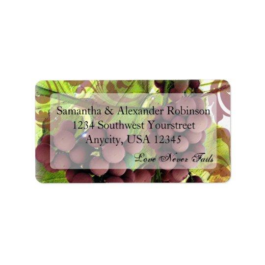 Elegant Vineyard Purple/Green Grapes Wedding Address Label