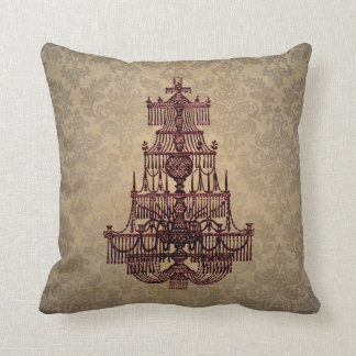 Elegant vintage antique chandelier on Damask Throw Pillow