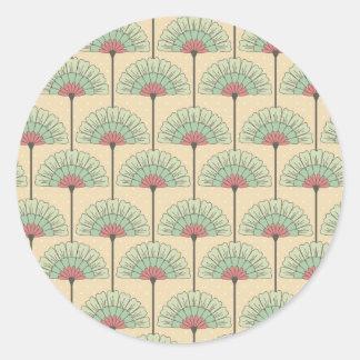 Elegant VIntage Art Deco Floral Round Stickers