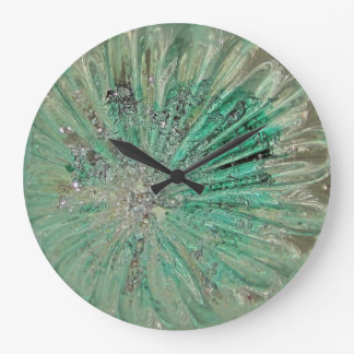 Elegant Vintage Art Glass Christmas Ball Teal Ice Large Clock