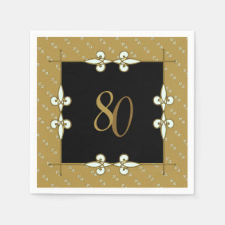 Elegant Vintage Art Nouveau Ornament 80th Birthday Disposable Napkin