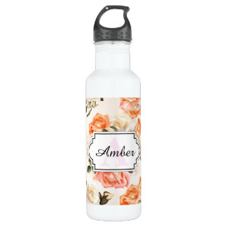 Elegant Vintage beige rose pattern 710 Ml Water Bottle