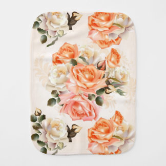 Elegant Vintage beige rose pattern Burp Cloth