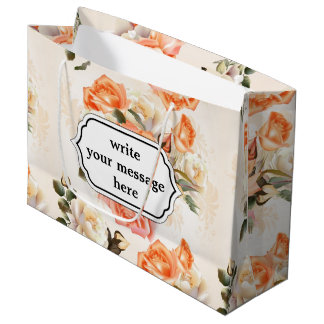 Elegant Vintage beige rose pattern Large Gift Bag