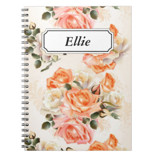 Elegant Vintage beige rose pattern Notebooks