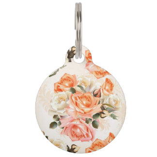 Elegant Vintage beige rose pattern Pet Name Tag