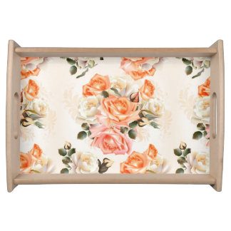 Elegant Vintage beige rose pattern Serving Tray