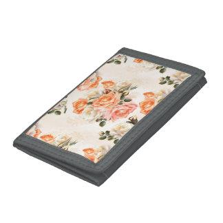 Elegant Vintage beige rose pattern Tri-fold Wallets