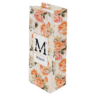 Elegant Vintage beige rose pattern Wine Gift Bag
