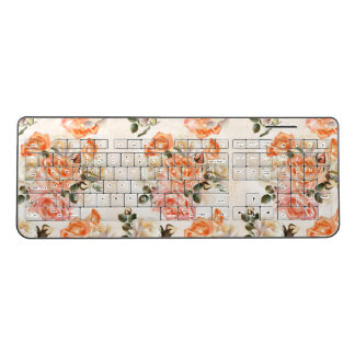 Elegant Vintage beige rose pattern Wireless Keyboard