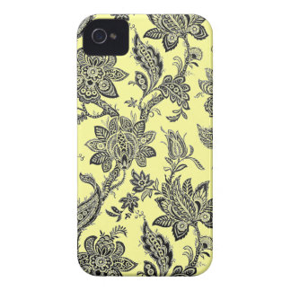 Elegant Vintage Black and Yellow Floral Wallpaper Blackberry Bold Cases