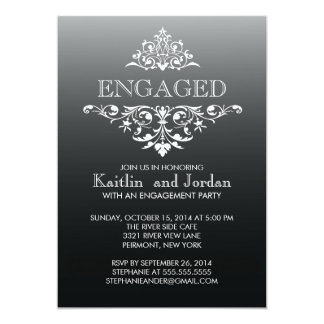 Elegant Vintage Black Flourish Engagement Party 13 Cm X 18 Cm Invitation Card