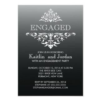 Elegant Vintage Black Flourish Engagement Party 13 Cm X 18 Cm Invitation Card