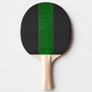 Elegant Vintage Black & Green Stitched Leather Ping Pong Paddle